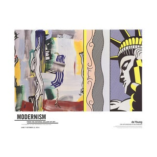 "2014 Roy Lichtenstein ""Painting With Statue of Liberty"" De Young Museum Poster For Sale"