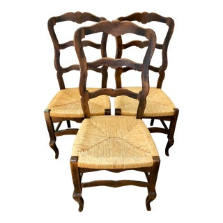 Ladder Back Rush Chairs - Set of 3 For Sale