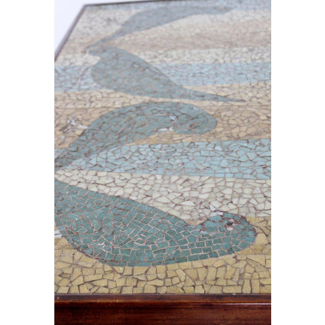 Mid-Century Modern Birds Mosaic Tile Art Top Rectangular Wood Coffee Table, 1960s For Sale In Detroit - Image 6 of 8
