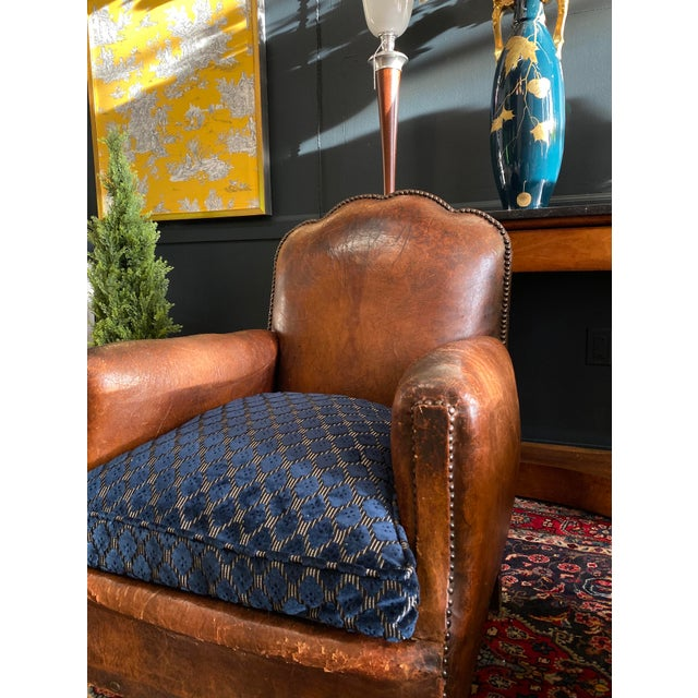 Art Deco 1930's Vintage Art Deco Leather Club Chairs - A Pair For Sale - Image 3 of 10