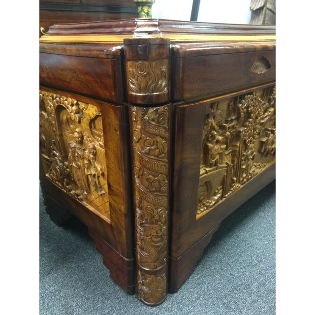 Ornate Hand-Carved Asian Chest For Sale - Image 10 of 11