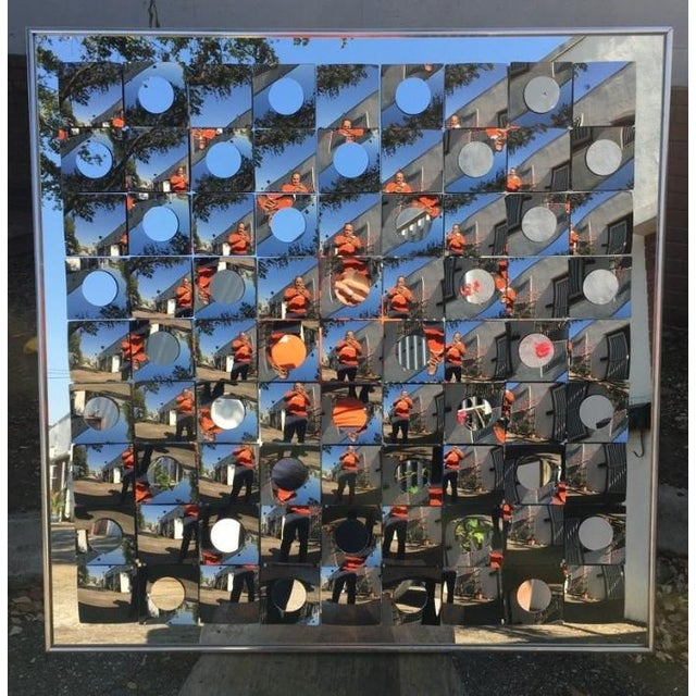 Glass Hal Bienenfeld Op Art Circle Within Squares Mirror For Sale - Image 7 of 7