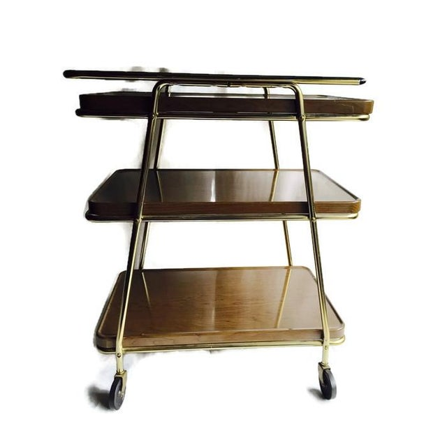 Mid-Century Atomic Age Three-Tiered Bar Cart - Image 5 of 9