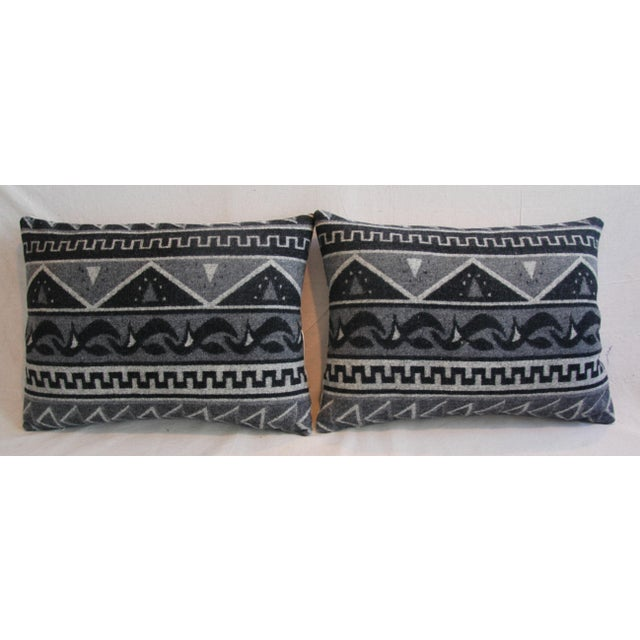 1950s Trading Camp Wool Blanket Pillows - A Pair - Image 3 of 11