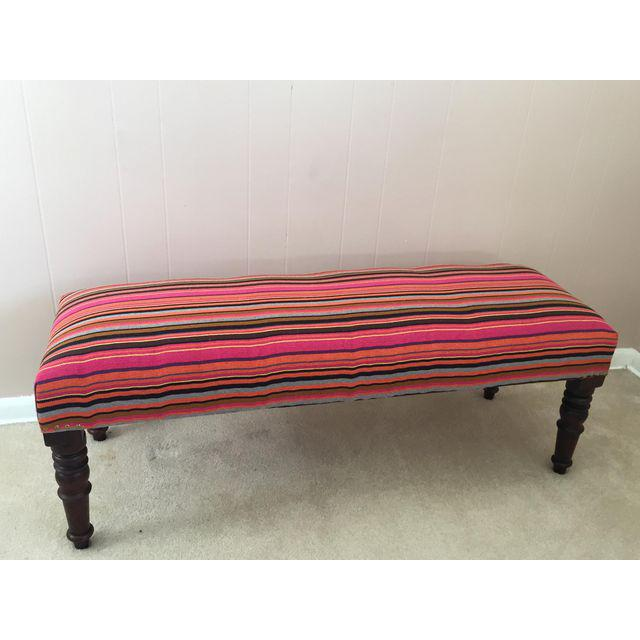 Industrial Handcrafted Handloom Upholstered Bench For Sale - Image 3 of 3