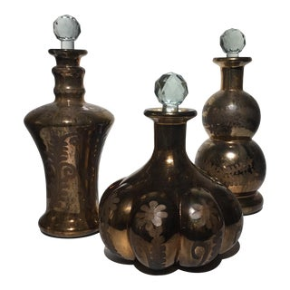 Copper Colored Apothecary Decanters- Set of 3