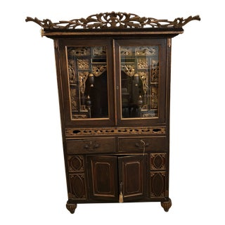 1970s Asian Hand Carved Secretary Hutch Armoire With Key For Sale