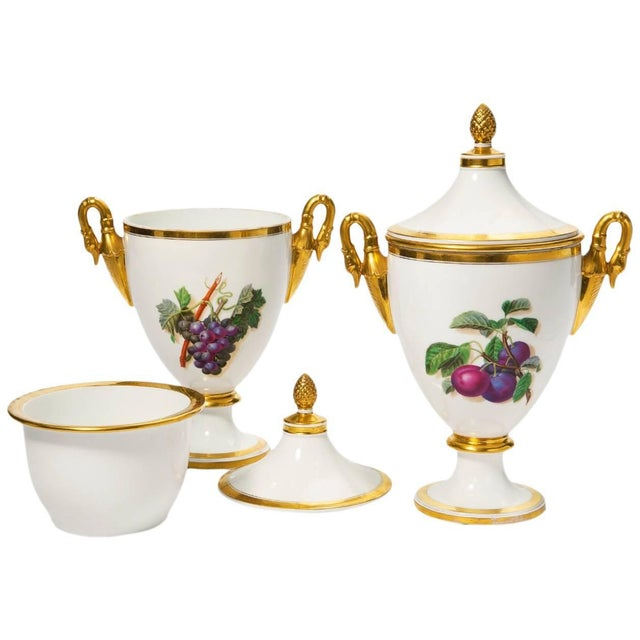 Early 19th Century Large French Porcelain Fruit Coolers and Covers - a Pair For Sale - Image 4 of 4