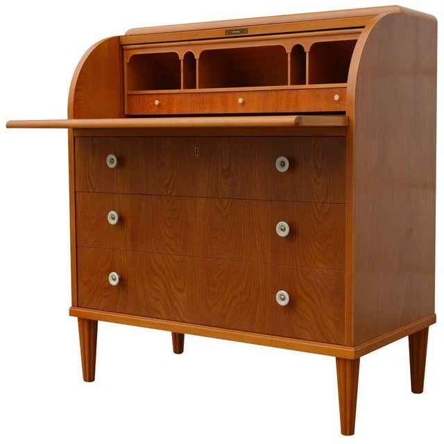 Swedish Art Moderne Elm Roll-Top Secretary Writing Desk For Sale - Image 11 of 11