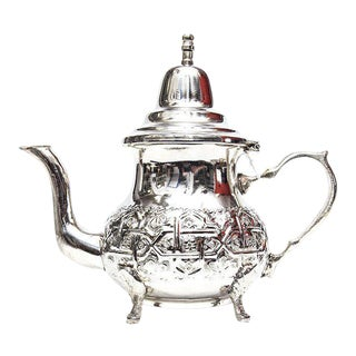 Moroccan Handmade Silver Teapot For Sale