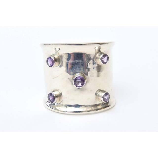 Modern Sterling Silver and Amethyst Hallmarked Modern Cuff Bracelet For Sale - Image 3 of 10