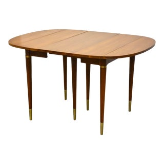 Widdicomb Walnut & Brass Drop Leaf Dining Table For Sale