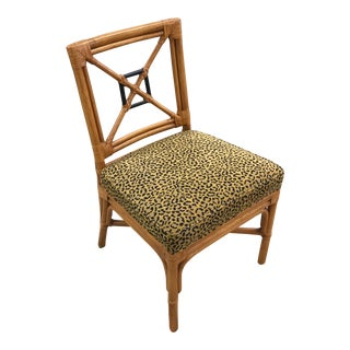 McGuire Style Bamboo Chair With Cheetah Patterned Seat For Sale