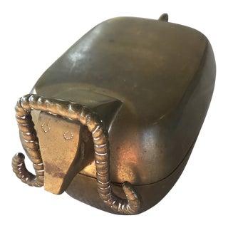 Vintage MCM Brass Ram Trinket Box For Sale