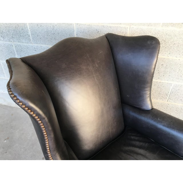 Pottery Barn Thatcher Leather Wing Back Arm Chair For Sale In Philadelphia - Image 6 of 12