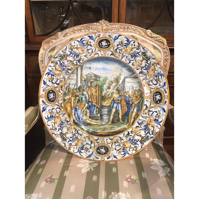 Blue Large 19th Century Italian Faience Charger For Sale - Image 8 of 10