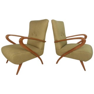 Mid-Century Modern Paolo Buffa Style Lounge Chairs For Sale