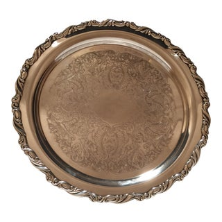 Vintage Oneida Silver Plated Round Serving Tray For Sale