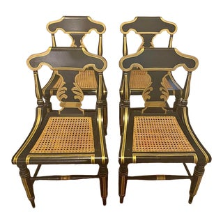 Antique Regency Cane Chairs Set of 4 For Sale