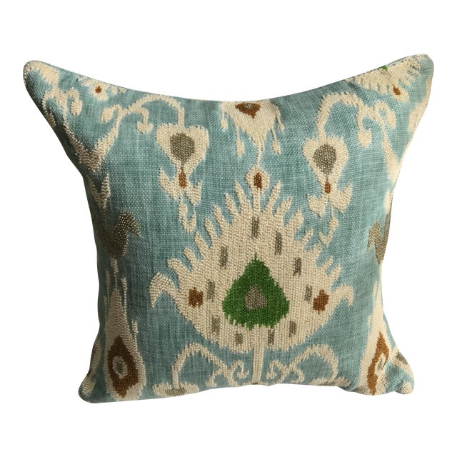 Beaded Aqua Ikat Pillow - Image 1 of 7