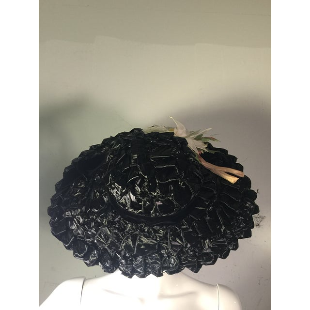 1940's Vintage Great Black Ribbon Hat With Amazing Silk Flower For Sale - Image 4 of 13