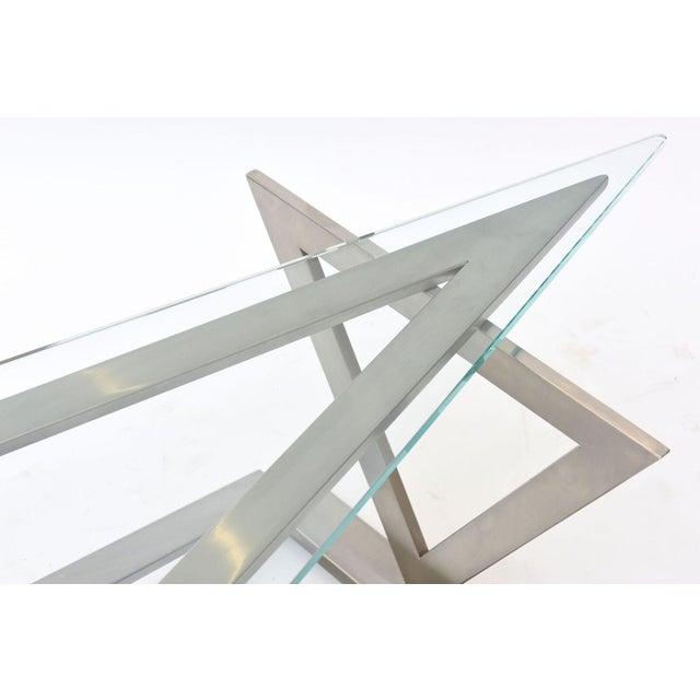Italian Modern Stainless Steel and Glass Table Attributed to Giovanni Offredi For Sale - Image 10 of 10