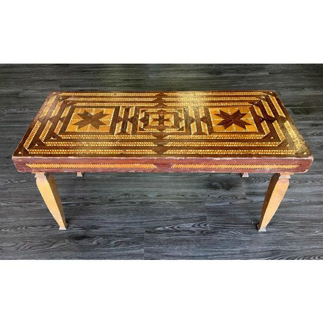 Vintage Folk Art Wood Inlay Bench - Image 2 of 8