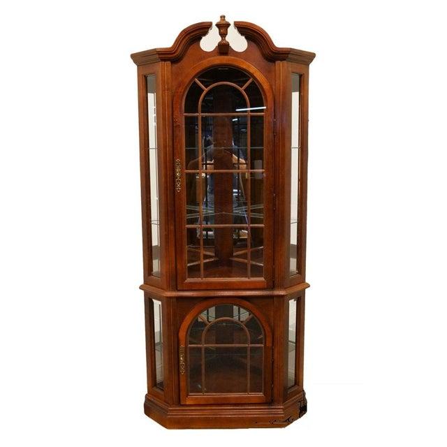 Pulaski Furniture Cherry Illuminated Corner Display Curio Cabinet For Sale - Image 9 of 9