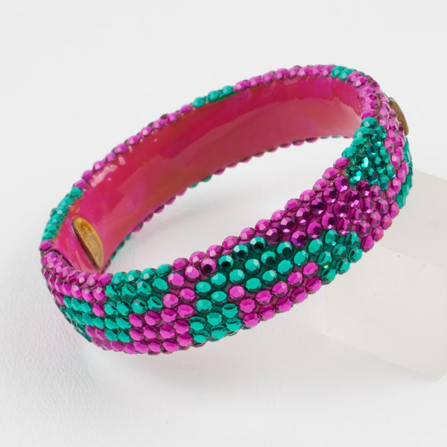 Pink Richard Kerr Pink Turquoise Jeweled Clamper Bracelet For Sale - Image 8 of 8