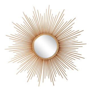 Mid Century Chaty Vallauris Style Gilt Metal Sunburst Wall Mirror Wall Sculpture For Sale