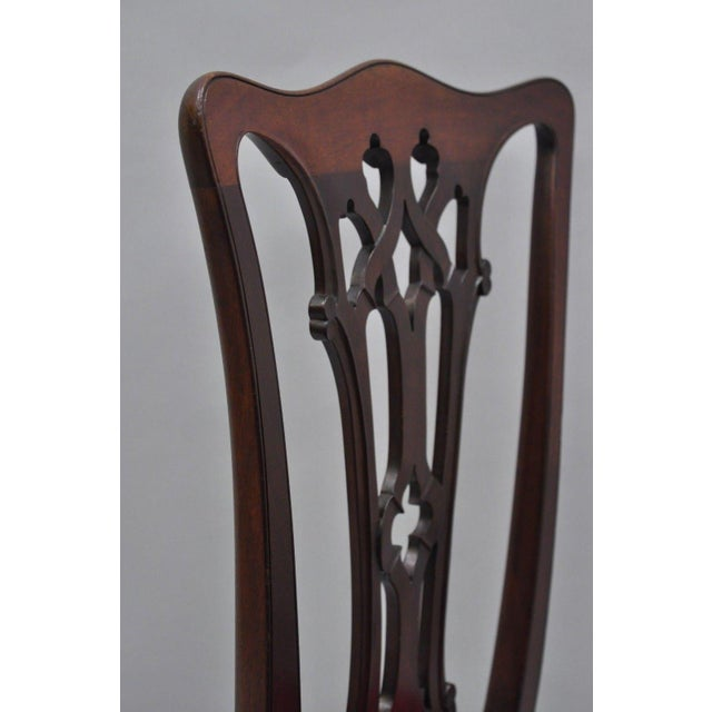 T. Robinson & Sons Makers Antique Solid Mahogany Chippendale Style Side Chairs - a Pair For Sale - Image 11 of 13
