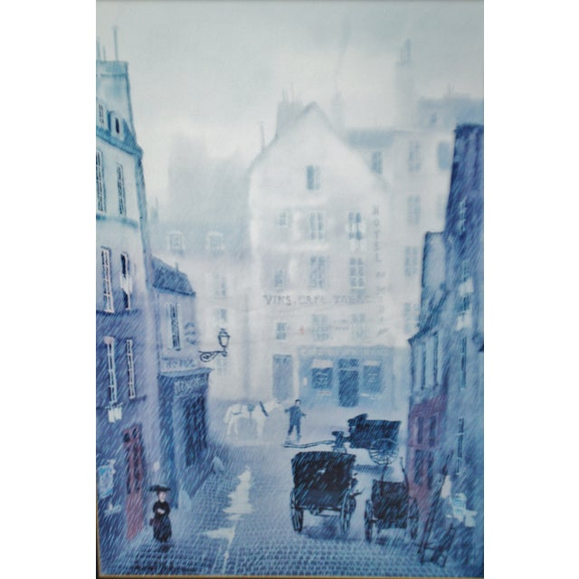Vintage Framed Paris Street Scene Lithograph by Michel Delacroix For Sale - Image 4 of 13