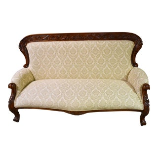 1980s Vintage Edwardian Style Patterned Sofa For Sale