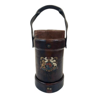 1940s Antique Leather Canon Ball Carrier Waste Basket For Sale