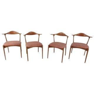 Danish Modern Cow Horn Style Dining Chairs For Sale