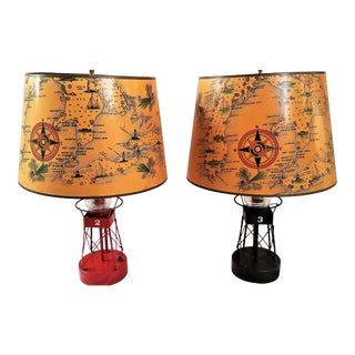 Vintage Channel Marker Buoy Lamps & Nautical Shades - A Pair For Sale