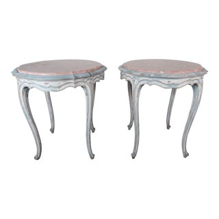 Pair of Painted French Louis XV Style Tables W/ Marble Tops