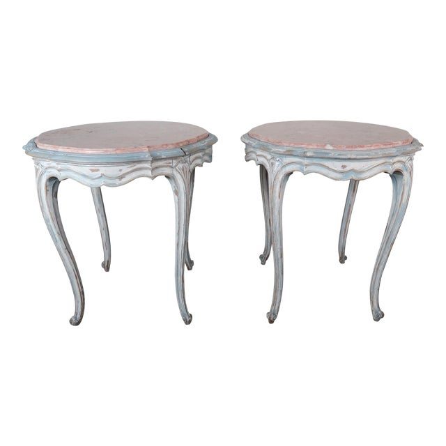 Pair of Painted French Louis XV Style Tables W/ Marble Tops For Sale