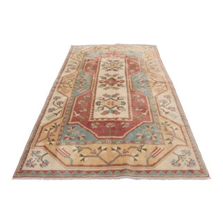 Vintage Decorative Hand Knotted Turkish Milas Rug - 5′5″ × 8′6″ For Sale