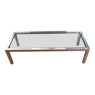 Pace Collection Chrome Coffee Table With Original Glass For Sale