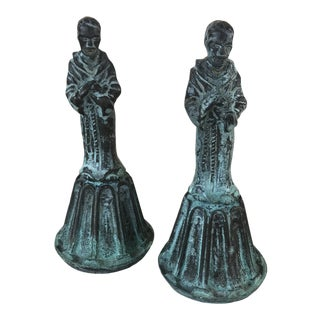 Bronze Religious Friar Bells Set of 2 For Sale