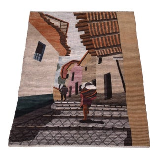 1970s Vintage Bohemian Handwoven Textile Art Wall Hanging / Rug For Sale
