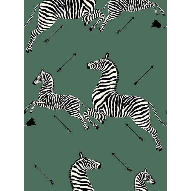 Safari Scalamandre Zebras, Serengeti Green Wallpaper For Sale - Image 3 of 3