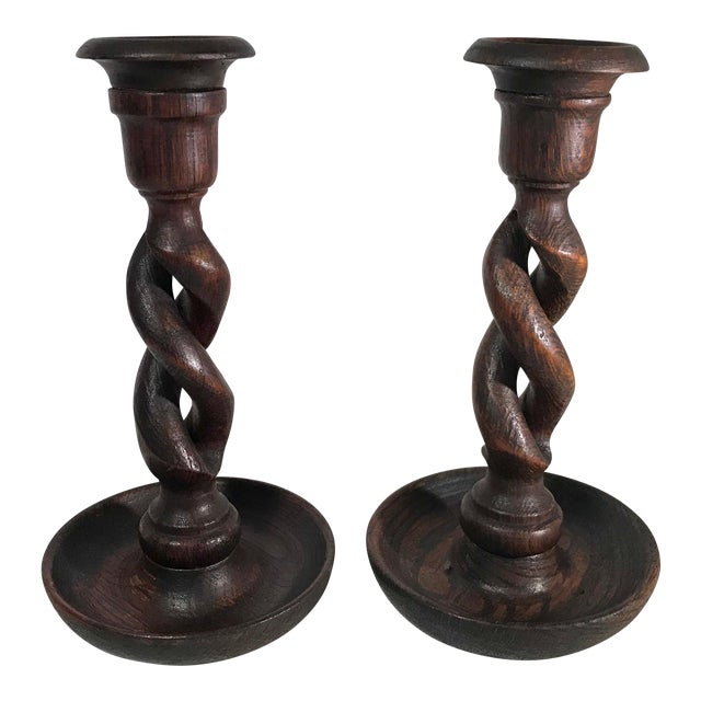 Vintage Barley Twist Open Weave English Candlesticks - a Pair For Sale