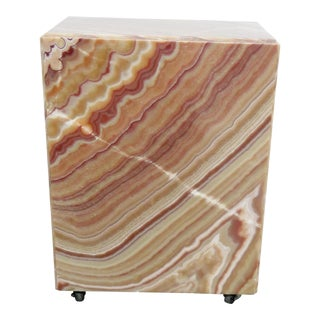 Alabaster Slab Rolling Pedestal For Sale