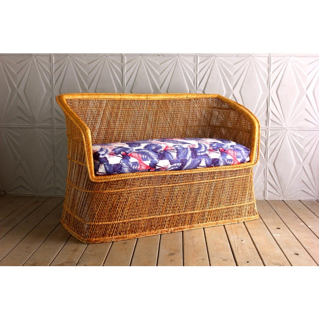 1970s Boho Chic Wicker Rattan Peacock Style Sofa Settee For Sale - Image 6 of 6