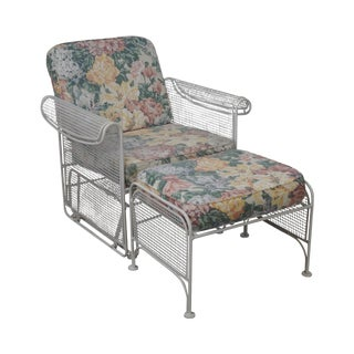 Vintage Woodard White Painted Patio Glider Lounge Chair & Ottoman