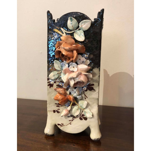 Ceramic Edouard Gilles French Barbotine Majolica Vase For Sale - Image 7 of 9
