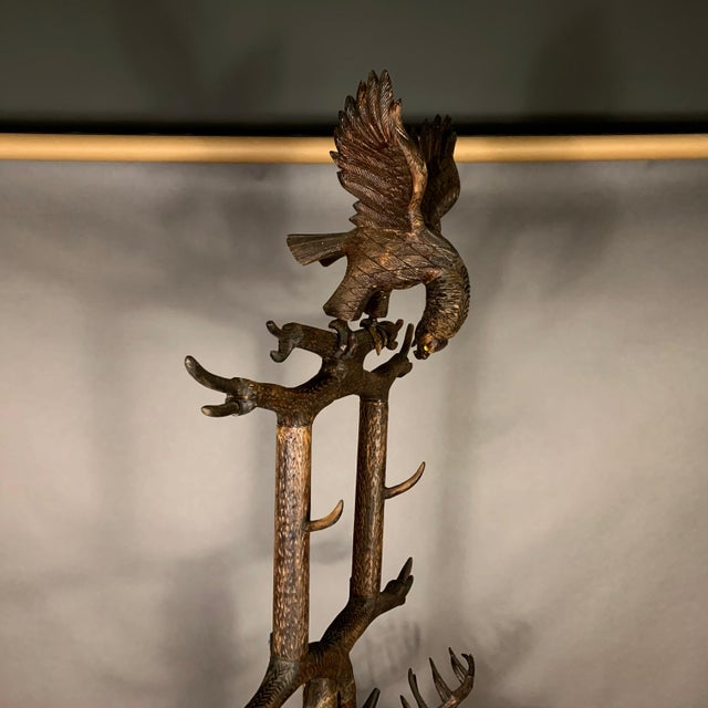 "Large 78"" Black Forest Carved Hall Stand, Eagle and Stag For Sale - Image 10 of 13"