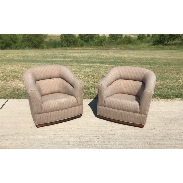 Mid-Century Modern Swivel Club Chairs Wood Plinth Base - a Pair For Sale - Image 13 of 13